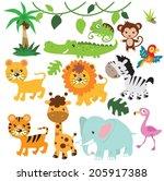 jungle animals vector... | Shutterstock .eps vector #205917388