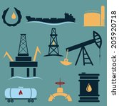 oil industry icons set flat...
