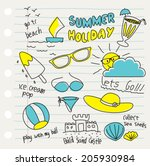 various summer doodles | Shutterstock .eps vector #205930984