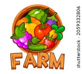 wooden logo farm with berries...