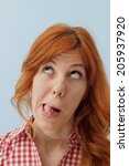 hipster girl making funny faces ... | Shutterstock . vector #205937920