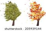 autumn and summer grunge tree...