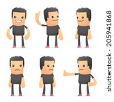 set of bad guy character in different interactive  poses