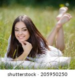 young cute girl resting on soft ... | Shutterstock . vector #205950250