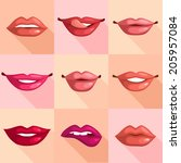 set of mouth smile red sexy... | Shutterstock .eps vector #205957084