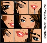 make up beauty woman set of... | Shutterstock .eps vector #205957090