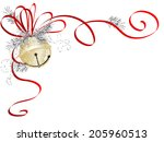 golden jingle bell with red...   Shutterstock .eps vector #205960513