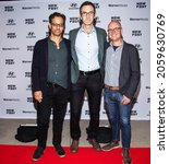 Small photo of Manhattan, New York,USA - October 15, 2021: Opening night of New York's LGBTQ Film Festival. Screening of the movie Mayor Pete. Director of the movie Jess Moss (middle) with Executives of the Festival