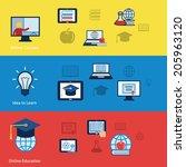 set of banners  online... | Shutterstock .eps vector #205963120