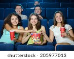 exciting movie. young people... | Shutterstock . vector #205977013