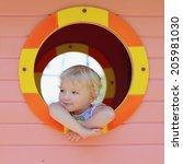 happy child  adorable blonde... | Shutterstock . vector #205981030