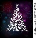 a christmas tree on a dark... | Shutterstock .eps vector #2059859783