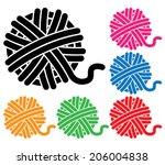 vector set of yarn ball icons  | Shutterstock .eps vector #206004838