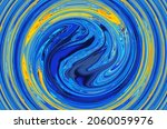 Abstract Bright Fluid Blue And...