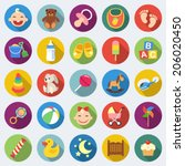 set of baby icons in flat... | Shutterstock .eps vector #206020450