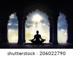 meditating in old temple with... | Shutterstock . vector #206022790