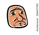 sad cartoon face  vector... | Shutterstock .eps vector #206027590