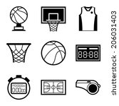 Basketball Icon Set In Flat...