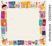 happy birthday kids decorative... | Shutterstock . vector #206033464