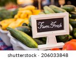 fresh organic produce on sale... | Shutterstock . vector #206033848