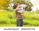 sensual father and child relax... | Shutterstock . vector #206034754