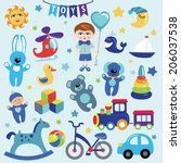 A Set Of Cute Toys Icons For...