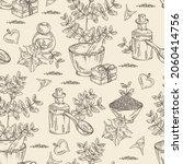 seamless pattern witht tribulus ... | Shutterstock .eps vector #2060414756