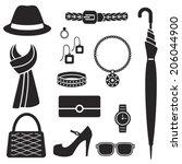 women fashion accessories... | Shutterstock .eps vector #206044900