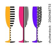 champagne glasses in pop art... | Shutterstock .eps vector #2060468753