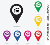 map marker with bus icon ... | Shutterstock .eps vector #206050900