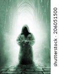 Praying Medieval Monk In Dark...