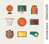 basketball icon set in flat... | Shutterstock .eps vector #206051650