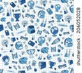 hand drawn seamless school... | Shutterstock . vector #206052028