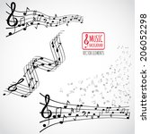 abstract music background with... | Shutterstock .eps vector #206052298