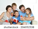 friendly family spends time... | Shutterstock . vector #206052538