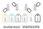 flash vector icon in tag set...