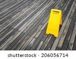 empty wet floor sign   Shutterstock . vector #206056714