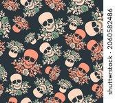 seamless pattern with skulls...   Shutterstock .eps vector #2060582486