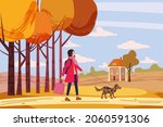 young woman walks the dog in... | Shutterstock .eps vector #2060591306