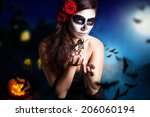 woman with sugar skull styling... | Shutterstock . vector #206060194