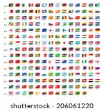 flags vector of the world on... | Shutterstock .eps vector #206061220