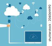 vector concept of wireless... | Shutterstock .eps vector #206064490
