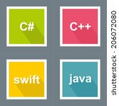 programming languages icon set... | Shutterstock .eps vector #206072080