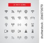 set of isolated vector wireless ... | Shutterstock .eps vector #206073070