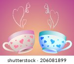 a set of two cups with hearts... | Shutterstock .eps vector #206081899