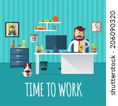 time to work | Shutterstock .eps vector #206090320