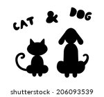 Stock vector cat and dog silhouettes 206093539