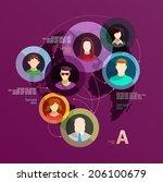 global network. flat design . | Shutterstock .eps vector #206100679