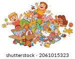 children playing with toys.... | Shutterstock .eps vector #2061015323