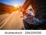 biker driving a motorcycle... | Shutterstock . vector #206104330